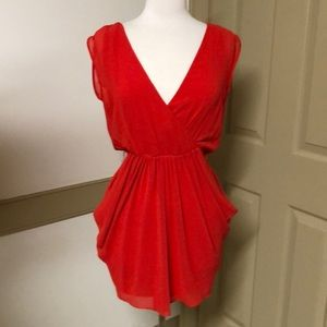 bebe Red silk plunging holiday dress size XS
